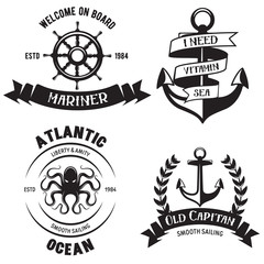 Set of sea and nautical decorations isolated on white background. Collection of elements for company logos, business identity, print products, page and web decor or other design.