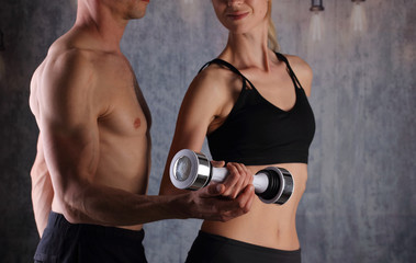 Sport, Fitness couple workout , fit man and woman at gym