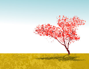 Sakura tree wallpaper with sky and nature. Vector illustration