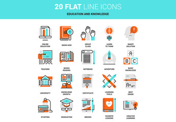 20 Line Art Online Education and Knowledge Icons