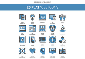 20 Flat Two-Color Design and Development Icons
