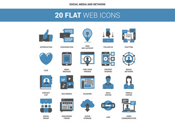 20 Flat Two-Color Social Media Icons