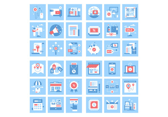 36 Square Blue and Red Icons