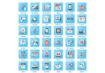 36 Square Blue and Red Shopping and Marketing Icons