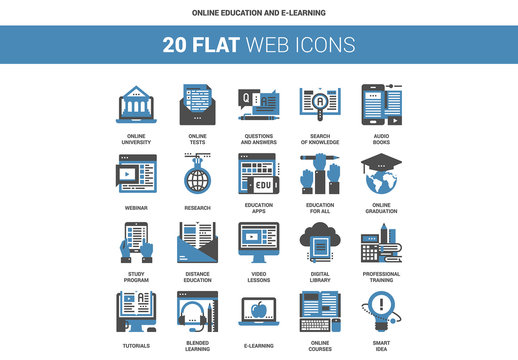 20 Flat Two-Color Online Education and E-Learning Icons