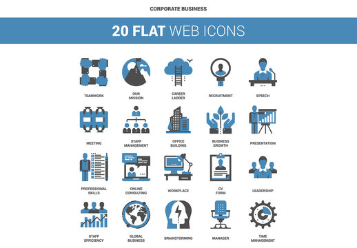 20 Flat Two-Color Corporate Business Icons