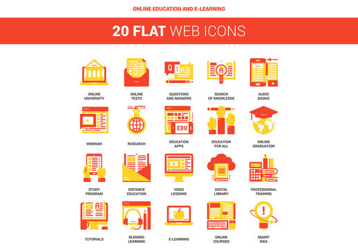 20 Red and Yellow Online Education and E-Learning Icons