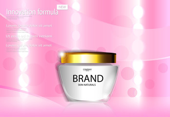 eps 10 vector cosmetic advertising banner for web, print. Advertisement presentation poster of luxury revolutionary formula face cream with lights bokeh effect pink backdrop. Realistic brand package
