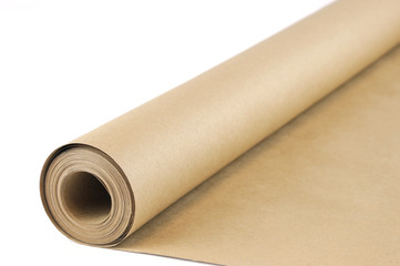 brown wrapping paper roll isolated on white background