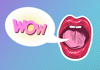Pop art woman lips. Sexy mouth. Speech bubble comic book style. Hand drawn vector illustration.