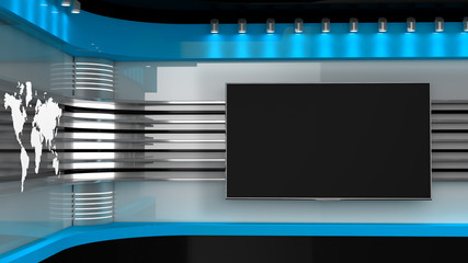 Tv Studio. Blue studio. Backdrop for TV shows .TV on wall. News studio. The perfect backdrop for any green screen or chroma key video or photo production. 3D rendering.