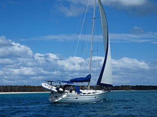 Tropical Blue Water Sailing near Fraser Island,