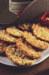 Australian army slouch hat and traditional Anzac biscuits
