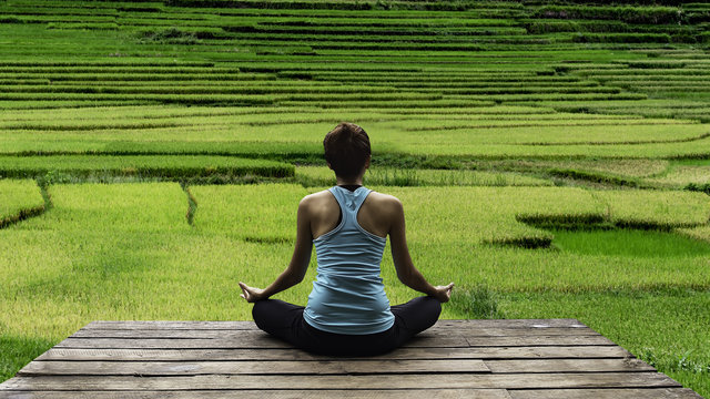 Young woman practicing yoga during luxury yoga retreat in Asia, Bali, meditation, relaxation, getting fit, enlightening, green grass jungle background,Terraced rice field in rice season in  Vietnam