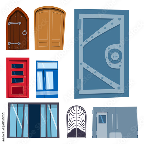 Open front door illustration Shop Building Color Door Front To House And Building Flat Design Style Isolated Vector Illustration Modern New Decoration Fotolia Color Door Front To House And Building Flat Design Style Isolated