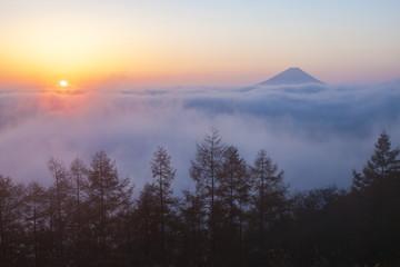 富士山と日の出の風景、山梨県甘利山にて