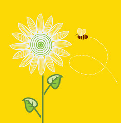 vector sunflower cartoon with flying bee on yellow background