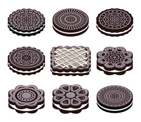 vector icons of oreo cookie set