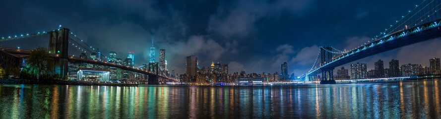 Printed kitchen splashbacks Brooklyn Bridge Manhattan panorama at night
