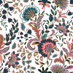 Hand drawn flower seamless pattern. Colorful seamless pattern with pargeting grunge whimsical flowers, paisley, raspberry. Watercolor pattern for textile. Isolated on a white background.