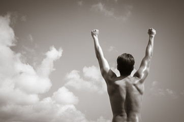 Feeling like a winner! Health, fitness and power concept.