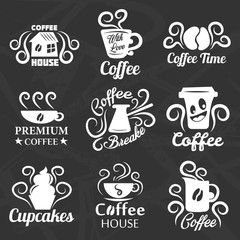Coffeehouse of coffee shop vector icons templates