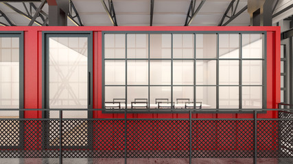 Mobile meeting room made from a shipping container , 3d rendering