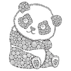 Cute panda. Adult antistress coloring book page. Black and white. Zentangle style. Hand drawn, doodle, zentangle design elements. - stock vector