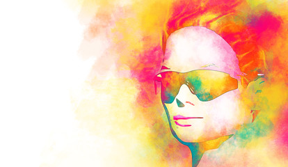 Art colorful sketching beautiful girl face with red short hair. Portrait of beautiful woman in sunglasses. Half turn view