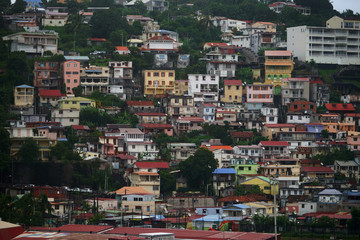 Close view of houses at Fort-de-France, Martinique Island - Lesser Antilles, French overseas territory