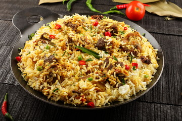 Homemade delicious mutton or lamb pilaff,biriyani.