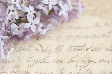 Background with flowers and old letters