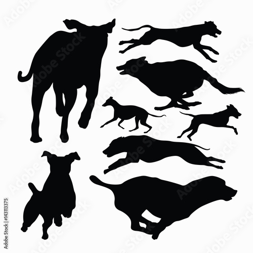 """""""Running and Jumping Dog silhouette collection"""" Stock ..."""