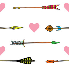 Hand drawn ethnic collection with arrows for design, arrows and heards, wedding cards with tribal arrows,rustic decorative arrows, hippie and boho style vector illustration