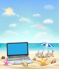computer laptop on a sand beach with beach chair and bright sea background