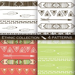 Ethnic seamless patterns collection, tribal vector patterns for design, boho patterns set