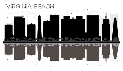 Virginia Beach City skyline black and white silhouette with reflections.