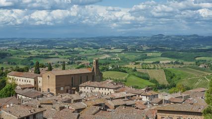 Fototapete - Panorama of San Gimignano Medieval Village,Tuscany, Italy, Europe