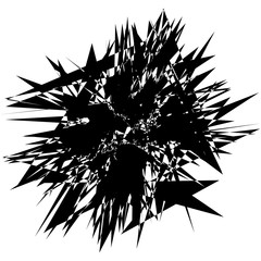 Random edgy abstract illustration with random scattered geometric shapes / lines. Black and white abstract illustration