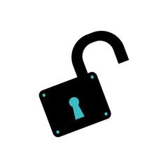 padlock unlocked security object vector icon illustration graphic design
