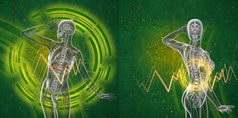 3d rendering medical illustration of the human adrenal glands