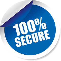 100% secure blue Label, Sign, stickers and symbol.