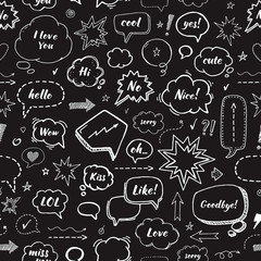 Hand drawn set of speech bubbles. Vector seamless pattern on black background