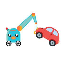 Cute robot working as a tow truck