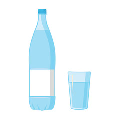 Plastic Blue Bottle and glass. Blank