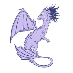 Dragon sketch. Violet and lilac fairy tale beast. Hand drawn vector illustration.