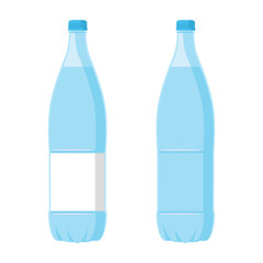 Plastic Blue Bottle with water. Set