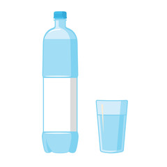 Plastic Blue Bottle. Glass. Blank