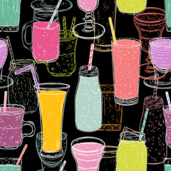 Seamless pattern with smoothie set on chalkboard. Healthy food. Hand drawn vector illustration