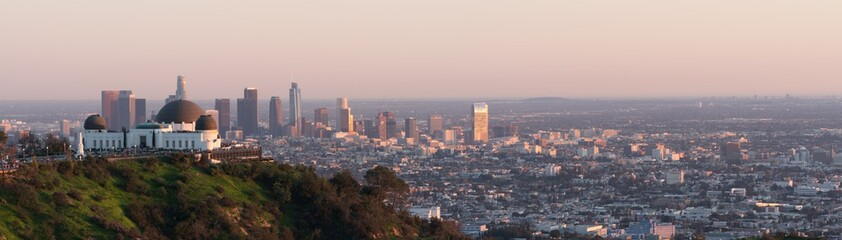 Los Angeles sunset, California, USA downtown skyline from Griffith park panoramic view